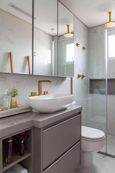 Banheiro Planejado Moderno Pequeno Bertioga - Banheiro Planejado com Espelho