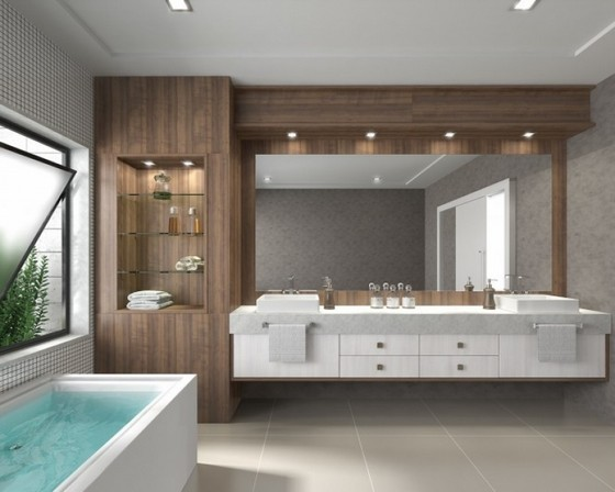 Banheiros Planejados com Cuba Suzano - Banheiro Planejado com Espelho