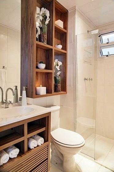 Banheiros Planejados Moderno Pequeno São Paulo - Banheiro Planejado com Espelho