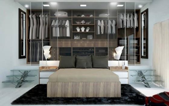 Closets Planejados com Sapateira Alphaville - Closet Planejado com Espelho