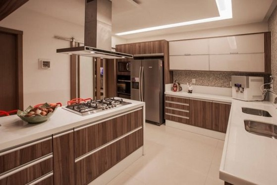 Cozinha Planejada Amadeirada Preço Guarulhos - Cozinha Planejada de Apartamento
