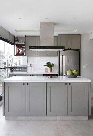 Cozinha Planejada com Ilha Alphaville - Cozinha Planejada de Apartamento