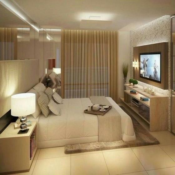 Quartos Planejados Apartamento Pequeno Bertioga - Quarto Planejado com Closet